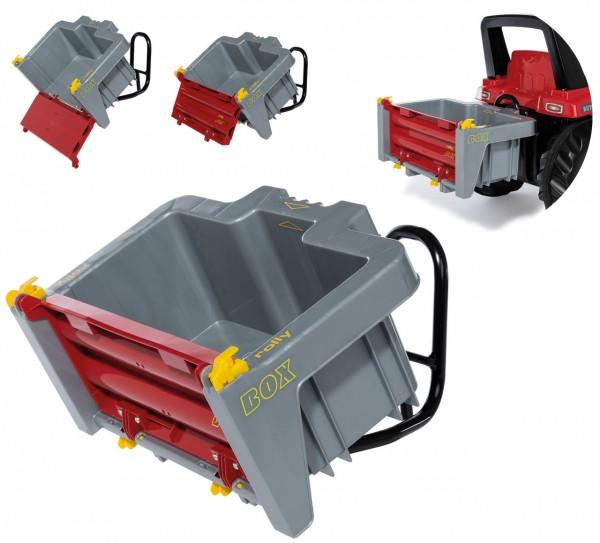 RollyBox Transportbehälter Box für Traktoren (Grau-Rot)