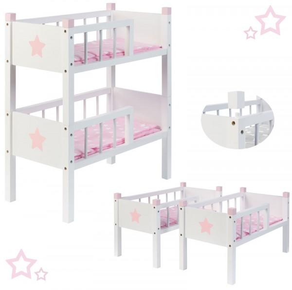 Puppenetagenbett Sternchen aus Holz mit 2 Betten Stapelbar (Weiß-Rosa)