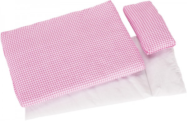 3-teiliges Puppenbettzeug Karo (Rosa-Weiß)