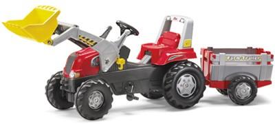 RollyJunior Traktor RT mit Frontlader und Farm-Anhänger (Rot)
