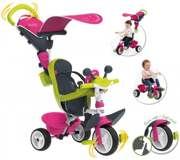 Dreirad Baby Driver Komfort II mit Lenkstange und Sonnendach (Pink)