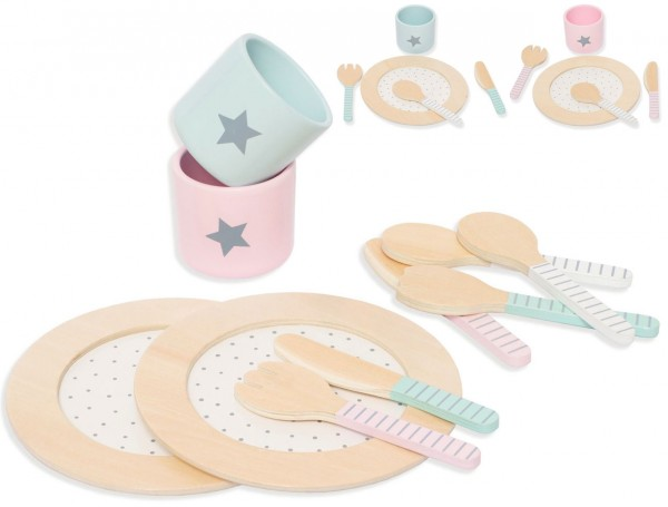 Ess-Geschirr-Set aus Holz für Spielküche (Pastell)