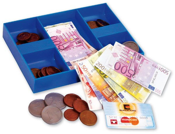 Geldkassette mit Euro Spielgeld