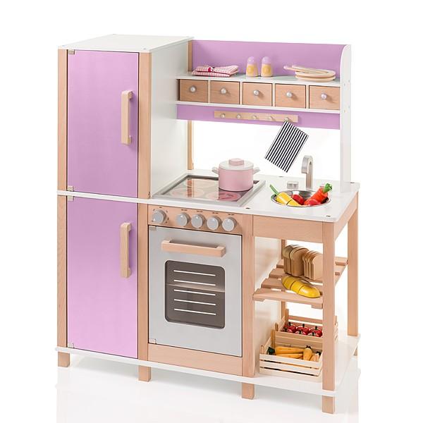 Große Kinderküche aus Holz (Buche-Flieder)