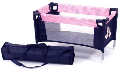 Puppenreisebett mit Tasche (Pink Checker)