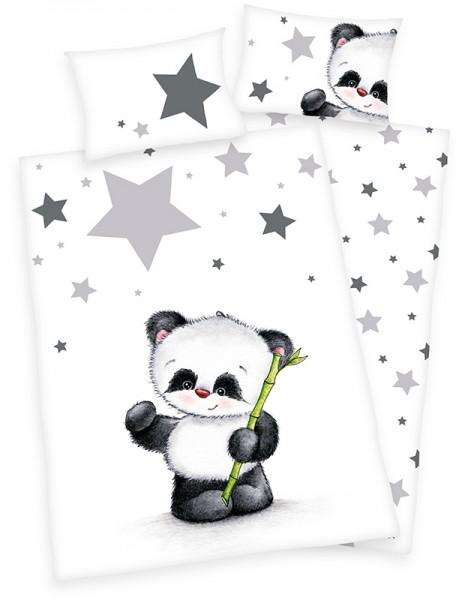 Renforce Kinder-Bettwäsche Jana Panda 100 x 135 cm (Weiß-Schwarz)