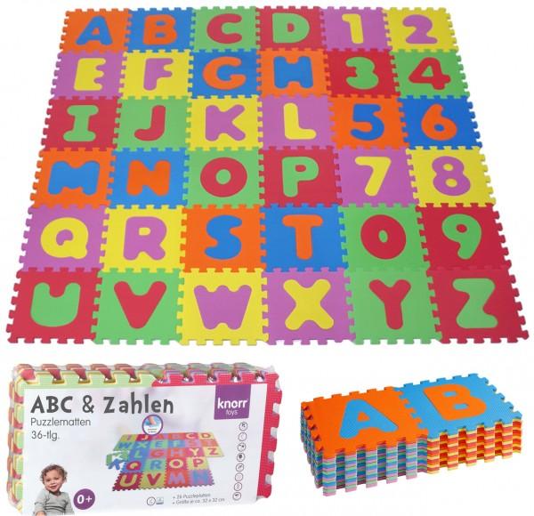 EVA Schaumstoff Puzzlematten Buchstaben & Zahlen 36-teilig (Bunt)