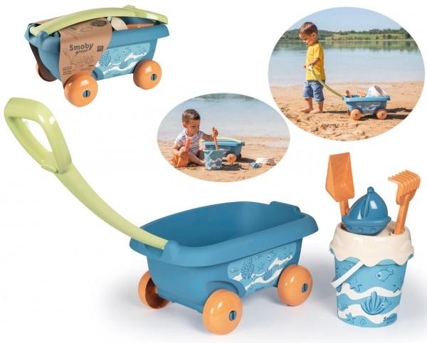 Green Sandspielzeug Handwagen mit Eimergarnitur aus Biokunststoff