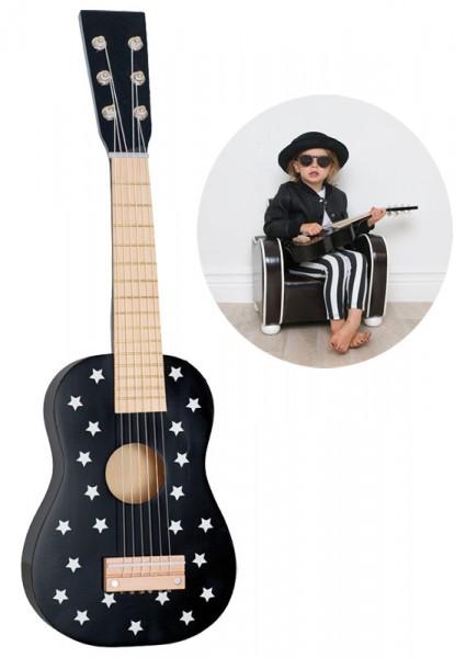 Kindergitarre aus Holz Sternchen (Schwarz)