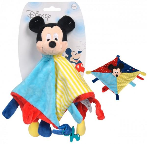 Disney Mickey Maus Großes 3D Schmusetuch mit Schnullerhalter (Bunt)