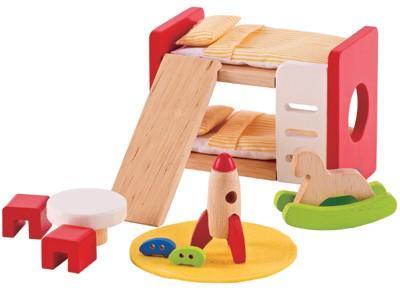 Puppenhaus Modernes Kinderzimmer (Natur-Rot)