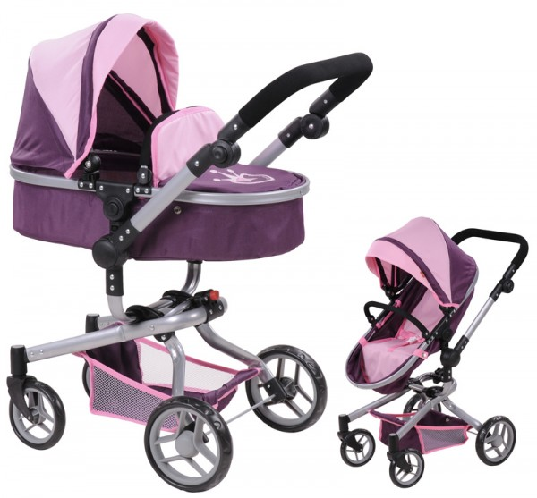 Puppenwagen Boonk 2in1 Little Princess (Pflaume-Rosa)