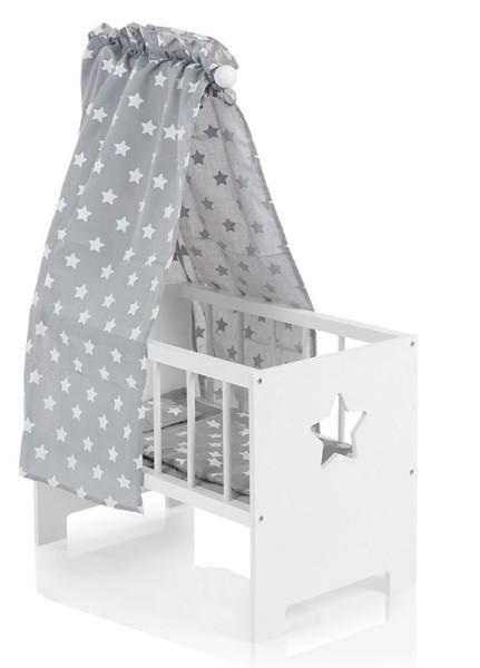 Puppenbett mit Himmel Sternchen aus Holz (Weiß-Grau)
