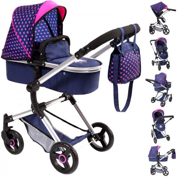 Puppenwagen Neo Vario 2in1 mit Wickeltasche Einhorn (Blau-Pink)