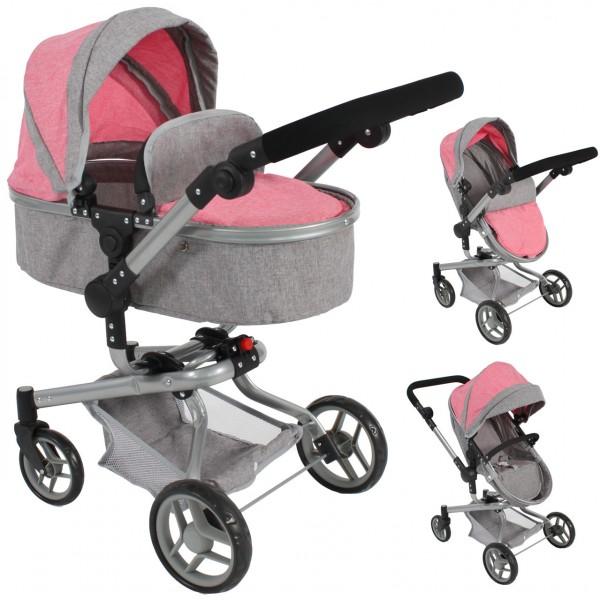 Puppenwagen Yolo Dots 2in1 (Melange Pink)