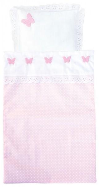2-teiliges Puppenbettzeug Schmetterling (Rosa-Weiß)