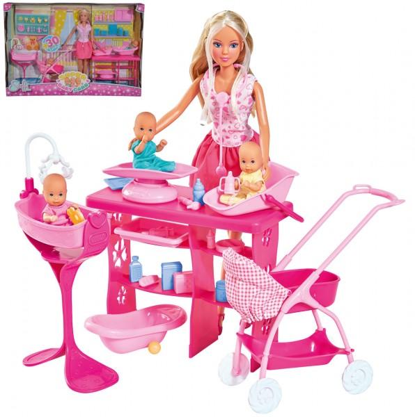 Steffi Love Super Baby Care Set mit 3 Babys und Zubehör