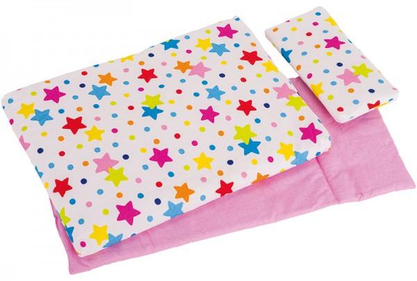 3-teiliges Puppenbettzeug Sterne (Bunt)