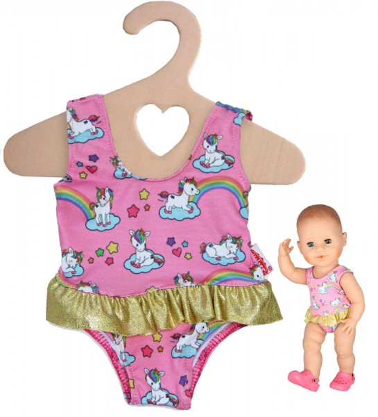 Badeanzug Einhorn Henri für Puppe 28 - 35 cm (Pink)