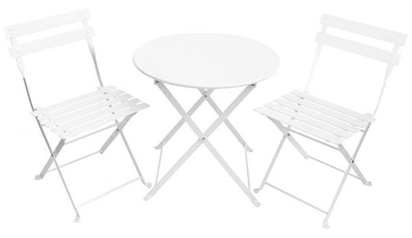 Kinder-Gartenmöbel-Set aus Metall (Weiß)