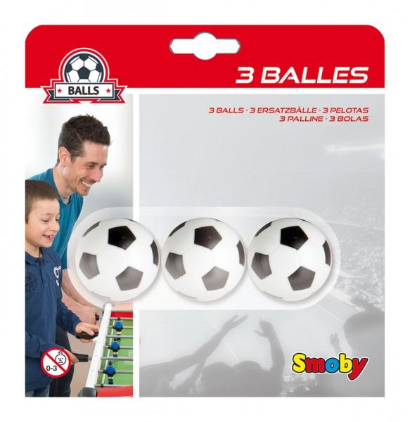3er Set Kunststoffbälle 34 mm für Tischfußball (Schwarz-Weiß)