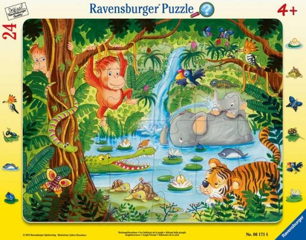 Rahmenpuzzle Dschungelbewohner mit 24 Teilen