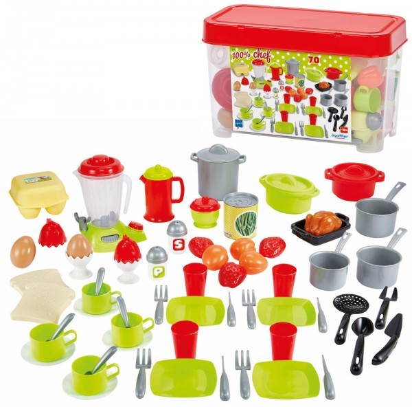 Große Box mit Geschirr-Set, Mixer und Zubehör für Spielküche