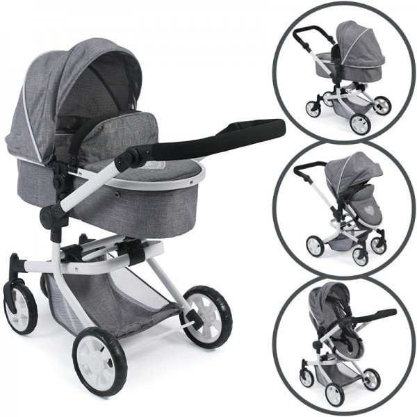 Puppenwagen Mika 2in1 (Jeans Grey)
