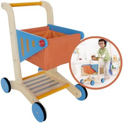 Einkaufswagen aus Holz (Orange-Blau)