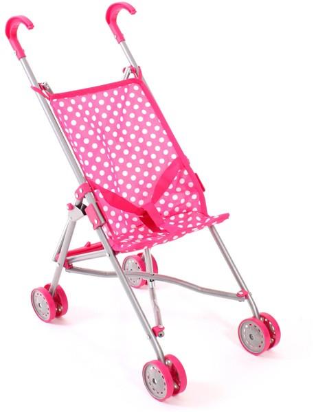 Puppenbuggy Pünktchen (Pink-Weiß)