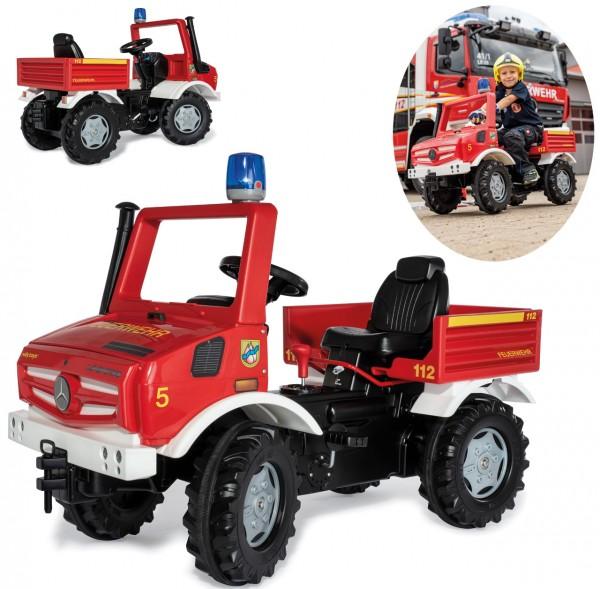 RollyFire Mercedes Unimog Feuerwehr mit Bremse und Blinklicht (Rot)