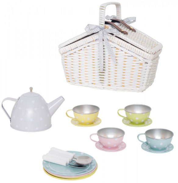 Tee-Set aus Blech im Picknickkorb (Weiß-Pastell)