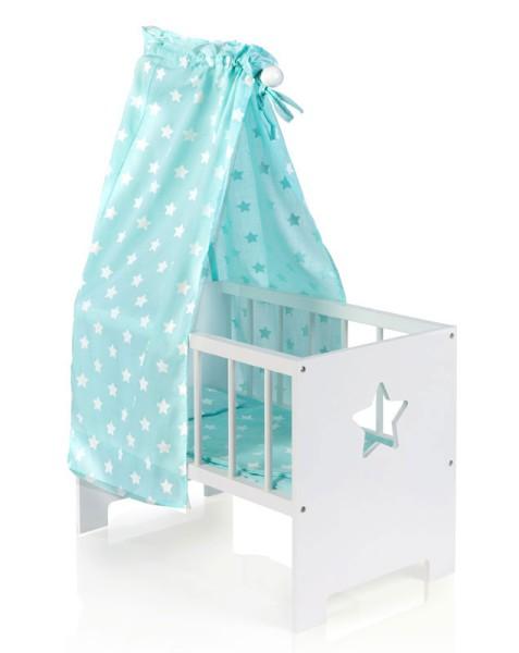 Puppenbett mit Himmel Sternchen aus Holz (Weiß-Mint)