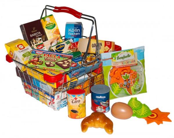 Einkaufskorb aus Metall mit Spiellebensmittel