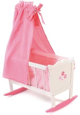 Puppenwiege Fiori (Rosa-Weiß)