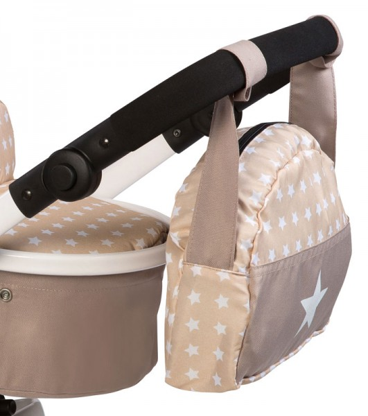 Wickeltasche für Puppenwagen Sternchen (Beige-Braun)