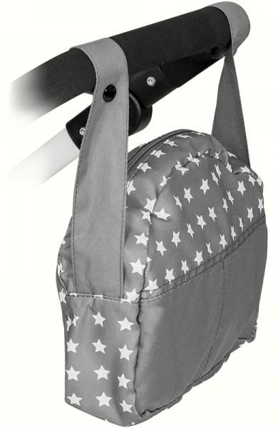 Wickeltasche für Puppenwagen Sternchen (Grau-Weiß)