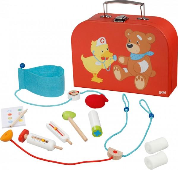 Süßer Arztkoffer mit Utensilien aus Holz Teddy und Ente (Rot)