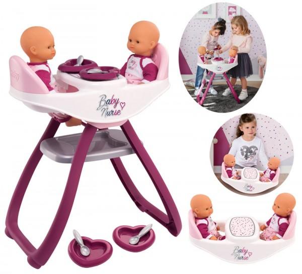 Baby Nurse Zwillingspuppen-Hochstuhl und Wippe 2in1 (Brombeere-Rosa)