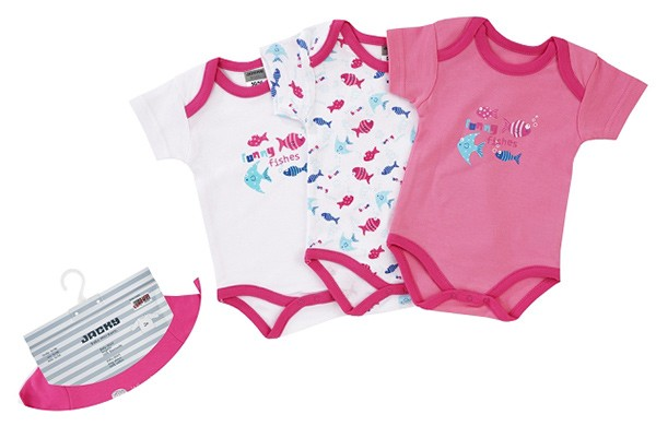 Body Kurzarm 3er Pack Girl Funny Fishes Gr. 50/56 (Pink-Weiß)
