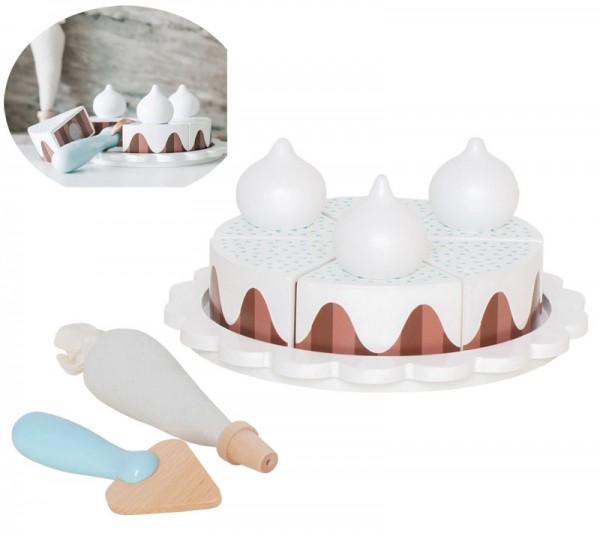 Schokoladentorte mit Sahnehäubchen (Weiß-Braun)