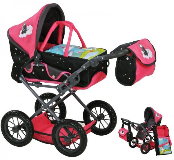 Puppenwagen Ruby Einhorn Nici Theodor Carbon (Pink-Schwarz)