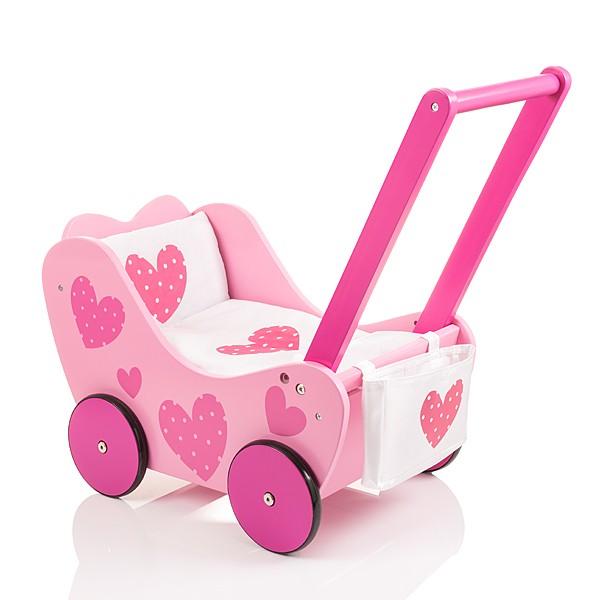 Holzpuppenwagen Speedy Herzchen (Rosa-Weiß)