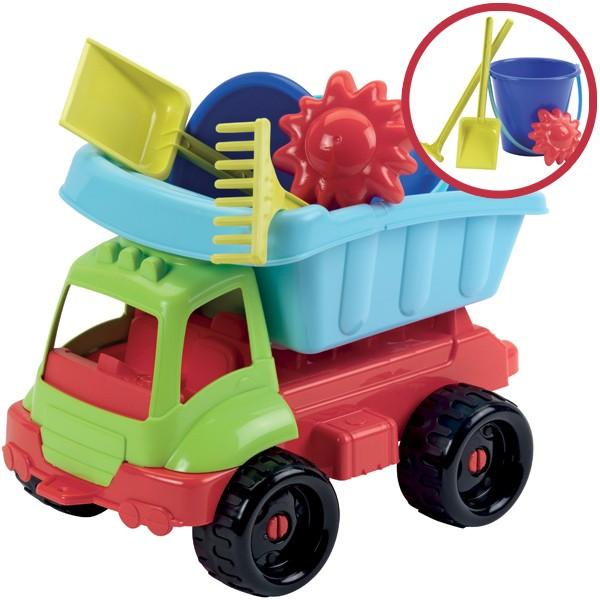 Bunter LKW mit Sandspielzeug