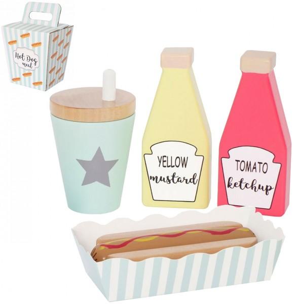 Hot Dog Set aus Holz für Spielküche (Pastell)