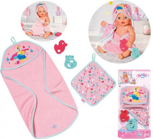 Baby Born Bath Kapuzenhandtuch & Schwamm (Rosa)