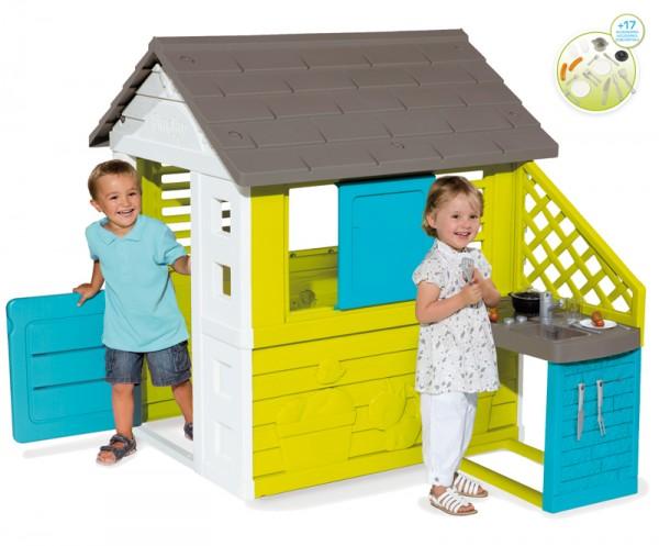 Spielhaus Pretty Haus mit Sommer-Spielküche (Türkis-Grün)