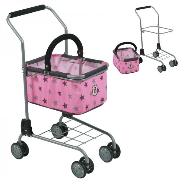 Supermarkt-Einkaufswagen mit Tragekorb (Sternchen Grau-Rosa)