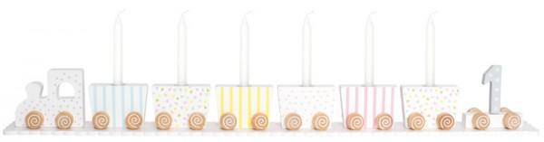 Geburtstagszug mit Zahlen (Pastell-Weiß)