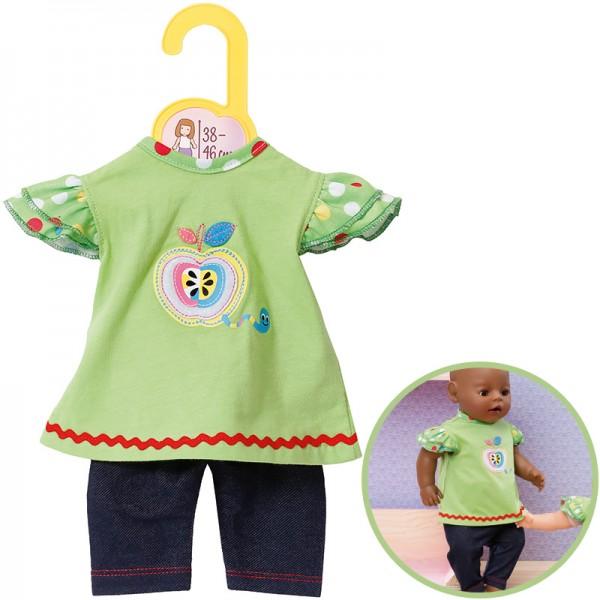 Dolly Moda Shirt mit Leggings 38 - 46 cm (Grün-Blau)